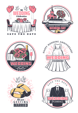 Wedding ceremony celebration retro icon set. Wedding bride dress, groom suit and rings, bridal flower bouquet, wedding car and church, heart balloon, gift and dove for save the date card design