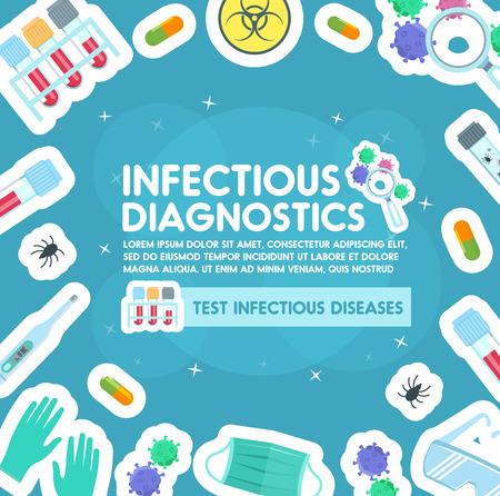 Cartel del centro de diagnóstico de infecciones para la clínica de salud. Diseño plano vectorial de virus, bacterias y microbios para pruebas médicas de enfermedades infecciosas o tratamiento de cura de inmunología Ilustración de vector