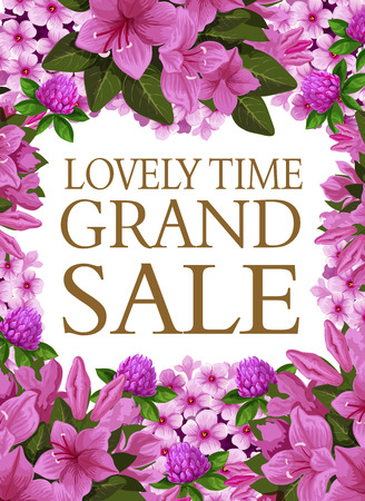 Spring time grand sale poster of blooming flowers for seasonal springtime shopping discount. Vector sale season design of clover and lilac flowers, blooming hibiscus blossom for shop or store discount Illustration