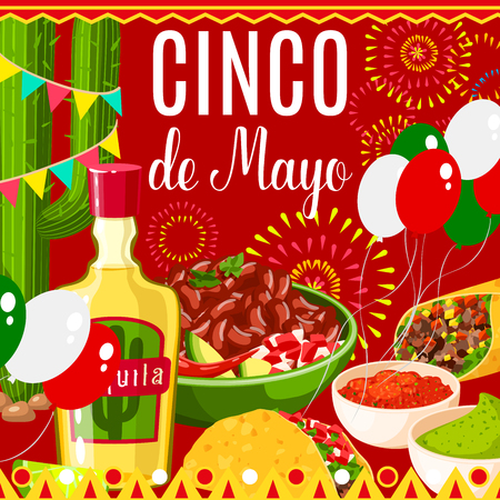 Cinco de Mayo Mexican holiday fiesta celebration greeting card of traditional food and fireworks. Vector design of balloons in Mexican flag, tequila with tacos and guacamole or burrito tortilla