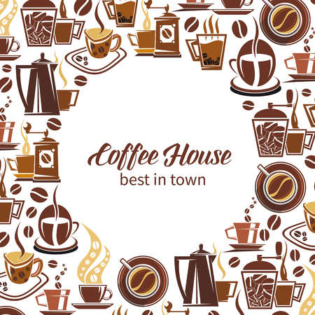 Coffeehuse poster of coffee makers, cups and beans. Vector design of espresso, americano or cappuccino and hot chocolate mug for cafe or cafeteria and coffeehouse menu design Foto de archivo - 108885898