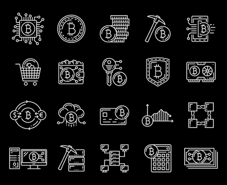 Bitcoin cryptocurrency technology icons. Crypto money, digital cash exchange, mining and transaction, blockchain network. Coins and pick, electronic video card and computer chip outline vector symbols