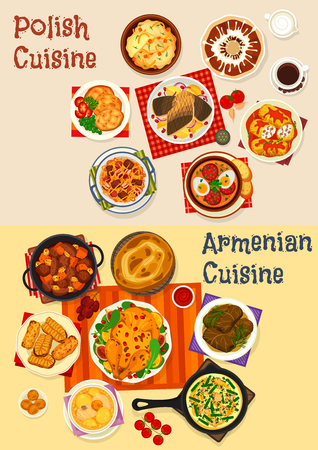 Polish and Armenian cuisine festive dinner menu icon set. Vegetable meat stew with sausage, meat roll and beef dolma, baked chicken and fish, potato pancake, dumpling, honey cake and cookie Standard-Bild - 108739894