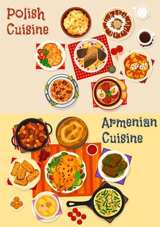 Insieme dell'icona del menu cena festiva di cucina polacca e armena. Spezzatino di verdure con salsiccia, involtino di carne e dolma di manzo, pollo e pesce al forno, frittella di patate, gnocchi, torta al miele e biscotto