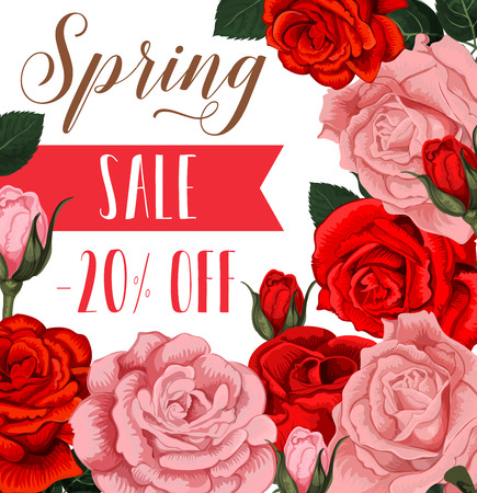 Spring sale discount shopping poster for springtime store discount promotion. Vector design of red and pink roses flowers bunch with blooming flowers blossoms for seasonal shop sale