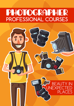 Photographer, freelancer, photojournalist, professional courses and equipment. Man with digital camera and photo items, lens and flash, photo film roll and memory card. Cartoon vector Illustration