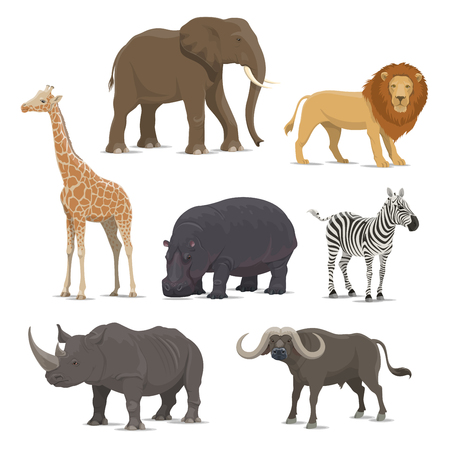 African animal cartoon icon set with wild savanna mammal. Elephant, lion and giraffe, rhino, hippo, zebra and buffalo animal for zoo, safari hunting and Africa wildlife themes design 스톡 콘텐츠 - 108739901