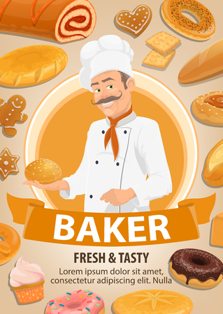Baker with mustache in uniform, bakery shop. Bread loaves and roll with jam, bagel and cupcake, donut and cookie, bun and gingerbread, donut and cupcake food. Cereal or pastry dough, vector