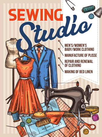 Atelier tailor or sewing studio retro sketch poster for dressmaker modiste salon. Vector deign of sewing machine, dress on dummy, scissors and tape measure, textile clothes, threads and needles