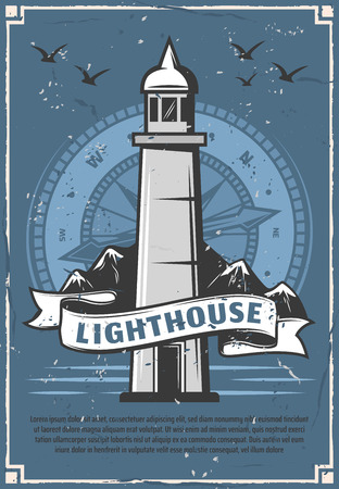 Marine lighthouse sailing club or community retro poster. Beacon tower on sea shore with ribbon, voyage and travel through world waters. Navy heraldry with seagulls and compass silhouette vector. Ilustração