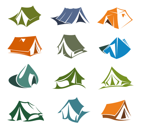 Camping and hiking tents icons, mountaineering sport and extreme tourism. Outdoor adventure cabins vector symbols. Portable waterproof dwelling, symbols of rock and mountain exploration