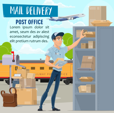 Post office and mail delivery service, vector. Mailman in uniform and parcels, postal train and airplane in sky, messenger bag and mailbox. Worker in shirt and cap, packages and boxes on shelves