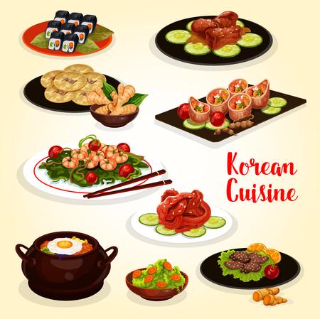 Korean cuisine lunch menu icon of traditional Asian food. Vegetable rice bibimbap, grilled beef bulgogi and sushi roll kimbap, fried shrimp, pork ribs with soy sauce, pickled fish and bean pancake