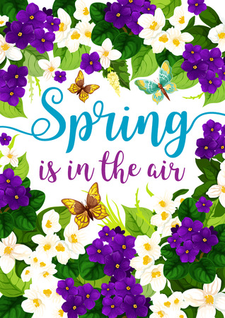 Spring is in Air lente-poster van violette bloemen met citaten voor wenskaart of seizoensgebonden vakantieontwerp. Vector lente bloeiende tuinkrokussen, altviool en tulp bloesems bos Vector Illustratie