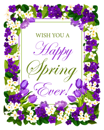 Happy Spring quote floral poster of garden blooming flowers for springtime season. Vector design of blue crocuses and tulips and violets bunch for spring holiday greeting card  イラスト・ベクター素材
