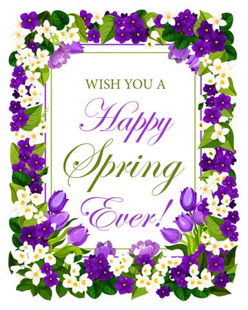 Affiche florale de citation de printemps heureux de fleurs de jardin pour la saison printanière. Conception de vecteur de crocus bleu et bouquet de tulipes et de violettes pour carte de voeux de vacances de printemps