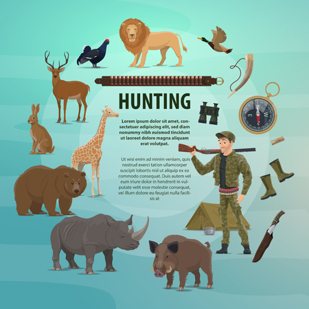 Hunting open season poster of safari hunter or hunt equipment and wild animals. Vector design of hunter with rifle gun and knife or binoculars, trophy lion or bear and zebra with aper hog Иллюстрация