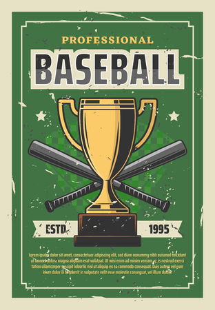 Baseball championship retro poster with gold trophy cup and bats as sportive items. Professional team sport league vintage tournament announcement. Baseball club tournament golden prize vector Çizim