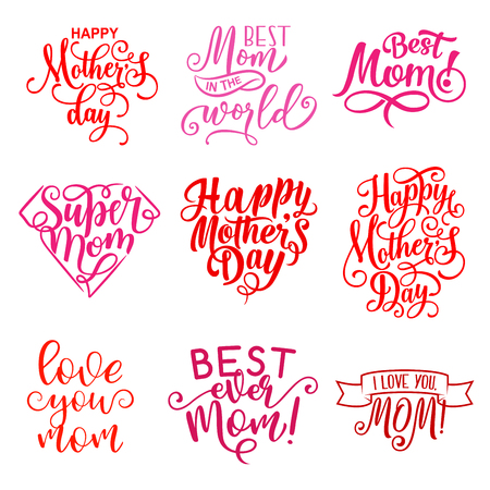 Happy Mothers Day hand drawn calligraphy text for greeting card wishes. Vector Mother Day celebration lettering icons for best mom and I love you heart greetings Illustration