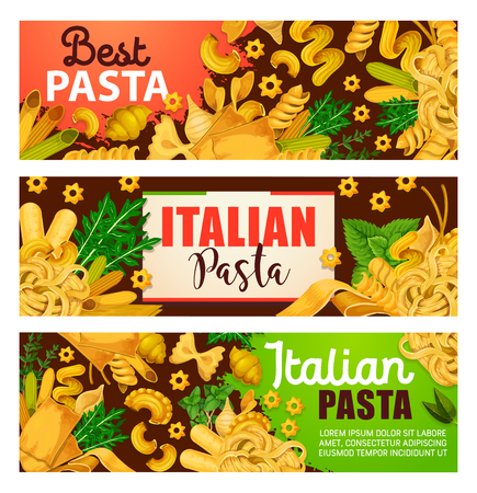 Italian pasta banners, traditional cuisine from Italy. Vector design of macaroni, lasagna or fettuccine and spaghetti, ravioli or pappardelle with herbs dressing. Italian pasta restaurant menu Illustration