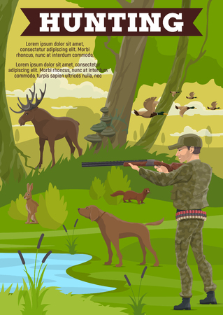 Hunting sport poster with mature hunter, wild animal and dog. Huntsman in military outfit with rifle, duck and moose, rabbit and marten, forest and lake. Hunt club, hobby outdoor recreation vector
