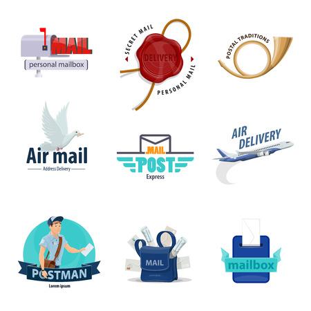 Icona del servizio postale impostato per la progettazione di temi di consegna della posta. Cassetta postale, busta della lettera e postino, cassetta delle lettere, corno postale e borsa del postino con corrispondenza, sigillo di cera postale, aereo di posta aerea e simbolo del piccione