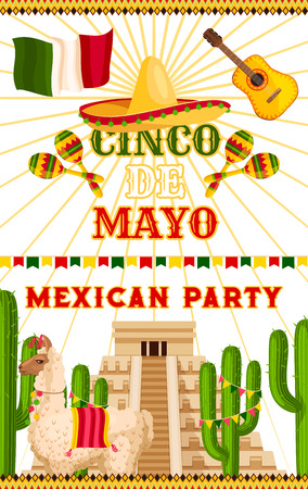 Cinco de Mayo party invitation card or poster for Mexican traditional holiday fiesta celebration. Vector sombrero and Mexico flag on Aztec or Maya pyramid, cactus and lama for Cinco de Mayo design