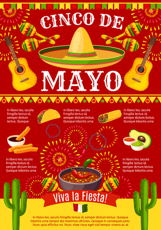Cinco de Mayo Mexican greeting card poster for Mexico holiday celebration. Vector design of Mexican traditional food burrito or taco and avocado, cactus and tequila with sombrero for party fiesta Illustration