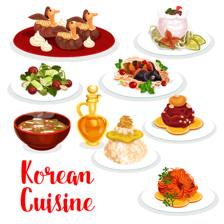 Korean cuisine restaurant dinner icon. Chicken rice, raw ground beef meat and cucumber salad, beef ribs in radish pot, spicy salted fish and pork soup with kimchi, stuffed carp fish and cream cake