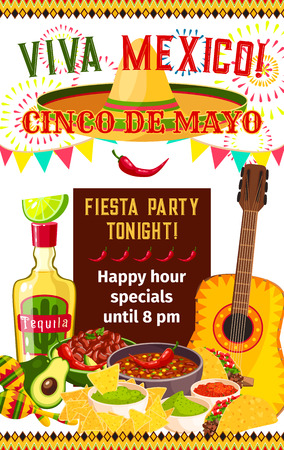 Cinco de Mayo fiesta celebration invitation poster design for happy hour on tequila, jalapeno pepper and food. Vector sombrero and traditional symbols of Cinco de Mayo Mexican holiday celebration Illustration