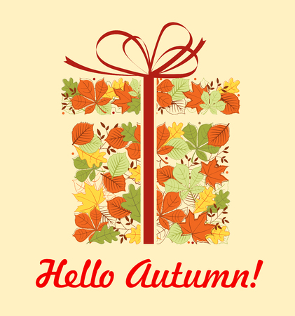 Hello Autumn greeting card of gift box with fallen leaf. Red, yellow and green autumn foliage of maple, chestnut and oak tree in a shape of present with red ribbon bow for Fall Season celebration