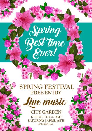 Spring time festival or springtime party invitation card or entry leaflet for live music event. Vector design of blooming lilac, garden hibiscus and violet blossom in flourish wreath