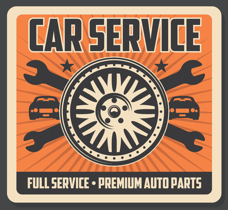 Car repair service. Bare tire, wrenches, car silhouette and wheel, brake disc. Garage and auto parts repairing. Auto parts icons, corpus maintenance and renovation vector