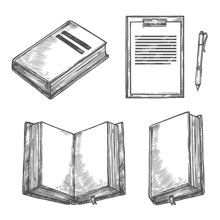 Book, notebook, pen and clipboard sketch set. Open book with empty page, ballpoint pen and paper clipboard with pen holder. Office stationery and writing tool for education and business design