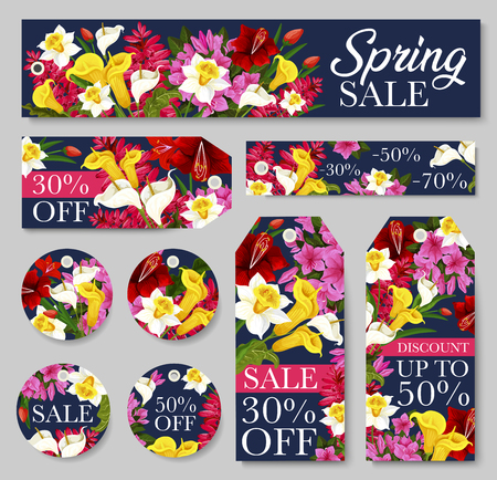 Spring season sale tag and discount offer floral label template. Blooming flower banner with daffodil, tulip and calla lily, azalea and phlox blossom for special price flyer or retail promotion design