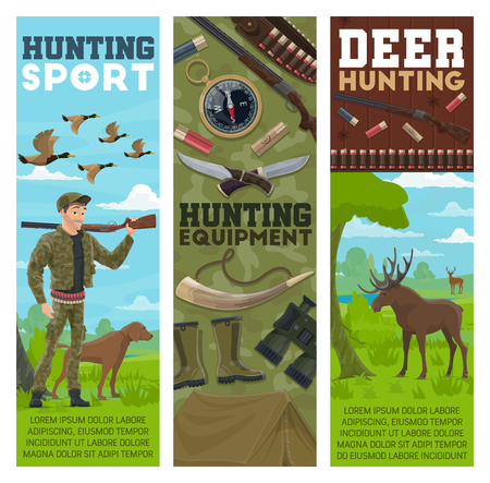 Hunting sport and equipment, vector. Huntsman, birds and animals. Hunter with rifle and dog, ducks flock and moose, compass and knives, rubber boots and binocular, gun with bullets and tent