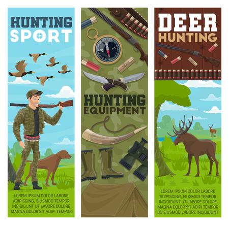 Sport et équipement de chasse, vecteur. Huntsman, oiseaux et animaux. Chasseur avec fusil et chien, troupeau de canards et orignal, boussole et couteaux, bottes en caoutchouc et jumelles, pistolet avec balles et tente