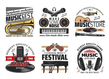 Classic, symphonic and live music festival concert icons. Musical instruments, trumpet and microphone, speakers and guitar, piano and headphones, violin and vinyl disc. Music events symbols
