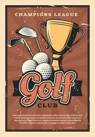 Golf club retro poster, sport game. Balls and sticks with gold trophy cup as prize on grunge, sporting competition or tournament. Club-and-ball sport community theme Vectores