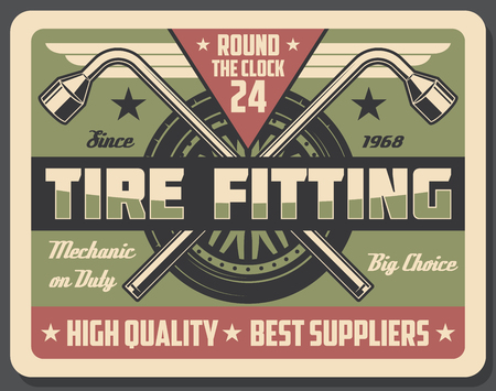 Car service and tire fitting vector signboard. Metal spanners and wheel on auto repair work, vintage style. Tools to fix or replace external and internal parts. Vehicle maintenance and repair