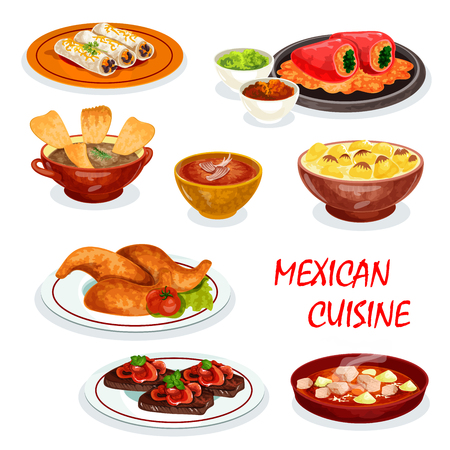 Mexican cuisine dinner icon with appetizer and sauce. Chili and avocado sauce with meat burrito and chicken, stuffed pepper, chicken soup with tortilla and beef steak, meat stew and vegetable soup