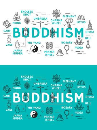 Icônes de religion de bouddhisme. Moine et noeud sans fin, roue du dharma et éléphant, lotus et stupa, cloche et yoga, chapelet et moulin à prières, yin yang et jnana mudra, vase et carpes. Icônes de contour vectoriel