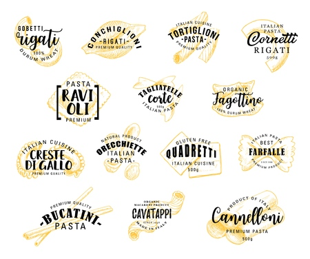 Italian pasta food icons. Rigati and conchiglioni, tortiglioni and cornetti, raviolli and tagliatelle corte, fagottino and cavatappi, bucatini and quadretti, farfalle and cannelloni. Vector lettering Ilustração