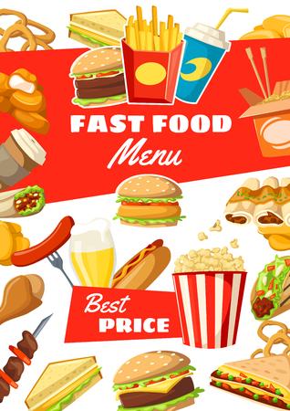 Cartel de restaurante de comida rápida de comidas, snacks, postres y bebidas. Menú de vector para hamburguesas de comida rápida, salsas y hamburguesas, hot dog o sándwich y pizza con paquete de papas fritas, helado y donut