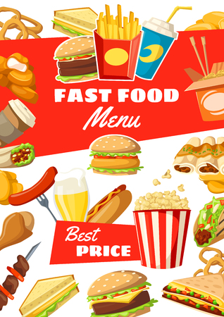 Fast food restaurant poster of meals, snacks, desserts and drinks. Vector menu for fastfood burgers, sauces and hamburgers, hot dog or sandwich and pizza with french fries pack, ice cream and donut Illustration
