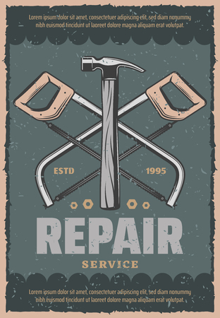 Repair service vintage poster of work tools. Vector retro design of saw or fretsaw with hammer or bolts and nuts for mechanic or woodwork workshop and home repair or construction