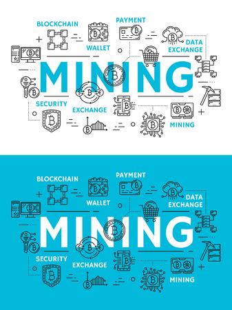 Mijnbouw van cryptocurrency, pictogrammen voor digitaal geld. Blockchain en portemonnee, betalings- en gegevensuitwisseling, beveiligings- en opslagsymbolen. Technologie voor het extraheren van cryptocurrency, platte vectortekens