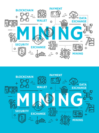 Mining of cryptocurrency, digital money outline icons. Blockchain and wallet, payment and data exchange, security and storage symbols. Cryptocurrency extraction technology, flat vector signs