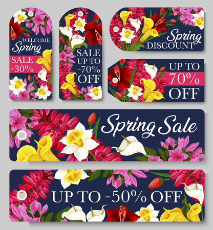 Sale tag of Spring seasonal discount price offer template with flower frame. Blooming daffodil, tulip and calla lily, azalea, phlox and delphinium floral label for retail promotion design