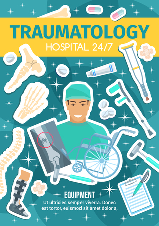 Traumatology medical healthcare, traumatologist doctor. Vector human bones and skeleton parts, wheel chair and x-ray, fixator and crutch, pain relieve pills and hammer, prescription and ointment